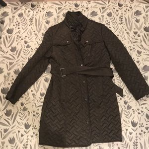 Cole Haan down quilted leather olive jacket